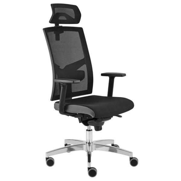 RWH Bürodrehstuhl ERGOFIX Netzrücken schwarz mit Armlehnen und Kopfstütze