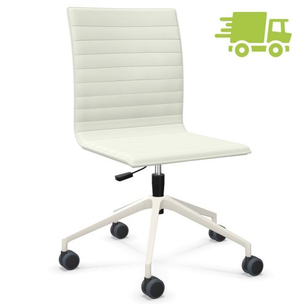 ABVERKAUF: Bejot ORTE 3DH 5R Bürostuhl Leder weiß ohne Armlehnen - schnell geliefert