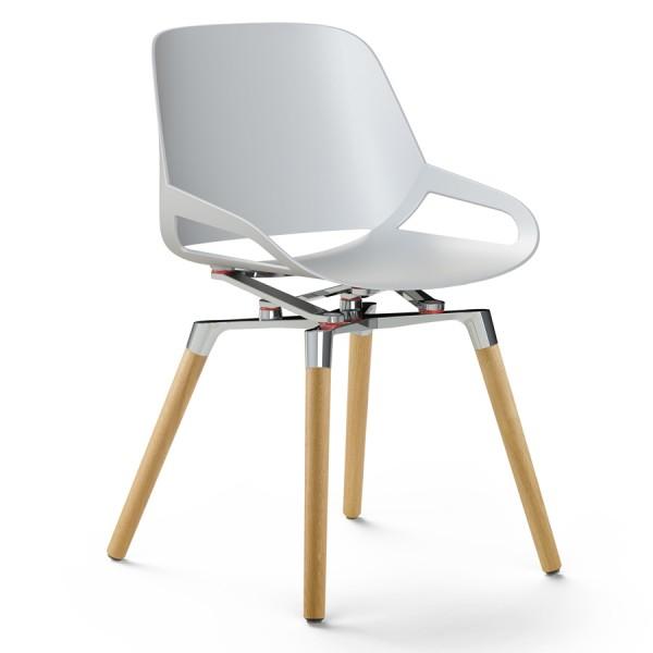 Aeris Numo Holzgestell - Sitzschale weiß - Kinematik poliert - ohne Sitzkissen