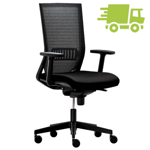 RWH Easy Bürodrehstuhl mit Netzrücken schwarz