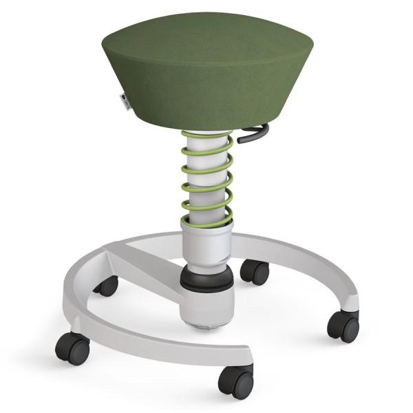 Aeris Swopper Mikrofaser grün mit Rollen - Gestell hellgrau - Standardfeder grün