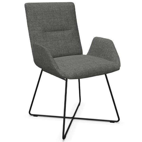 W. Schillig Stuhl mit Armlehnen u. Drahtrohrgestell