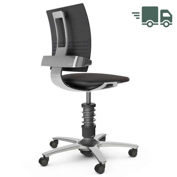 Aeris 3Dee Bürostuhl Capture schwarz Standard-Feder - Gestell/Feder hochglanz poliert