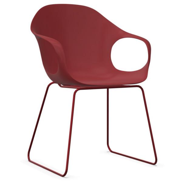 Kristalia ELEPHANT Stuhl rot mit Kufengestell rot - Frontansicht