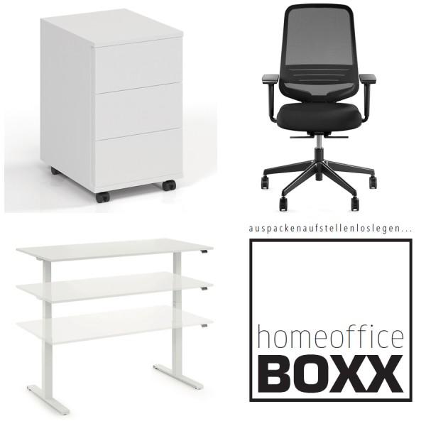 FM Homeoffice BOXX 3.0 - EASY GO Schreibtisch + ATTACK Bürostuhl + ROLL ON Rollcontainer