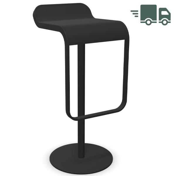 lapalma LEM S81 Barhocker 80 cm fix - Gestell u. Sitz schwarz - seitliche Ansicht