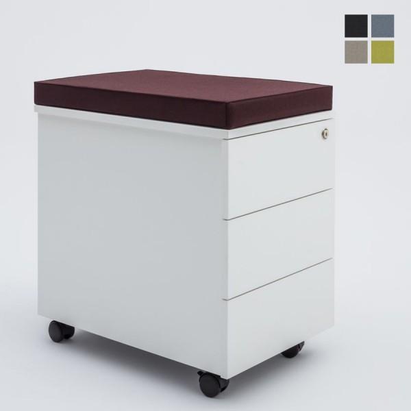 mdd Rollcontainer grifflos - mit drei Schubladen u. Sitzkissen