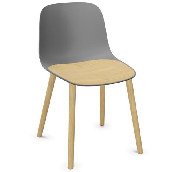 Lapalma SEELA S313 grau mit Holzsitzeinlage und Eiche gebleichten Holzbeinen