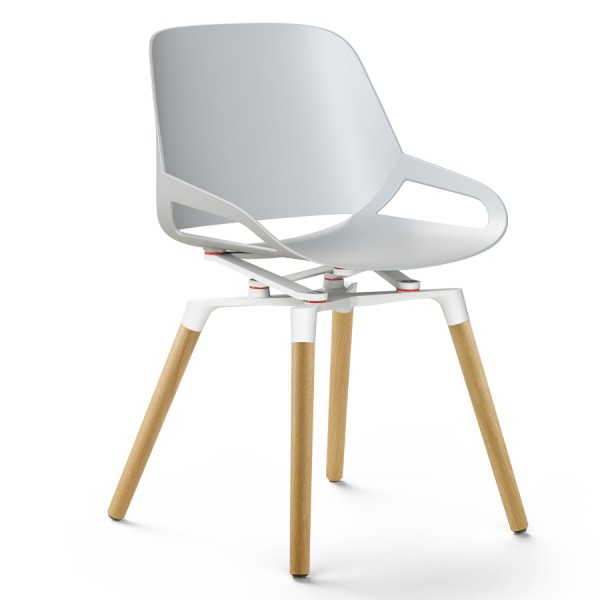 Aeris Numo Holzgestell - Sitzschale u. Kinematik weiß - ohne Sitzkissen