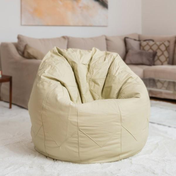 Brasilheroe Sitzsack Leder Classic - Medium - einfarbig weiß