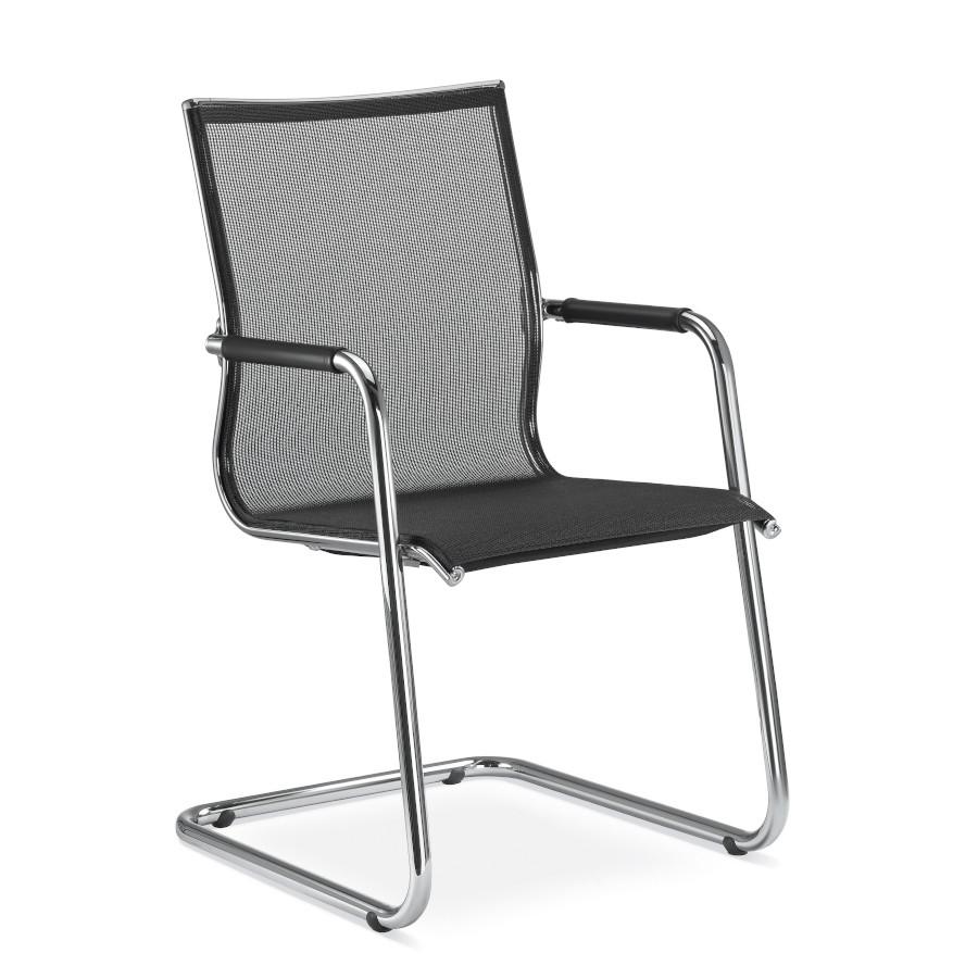 LD Seating PLUTO Freischwinger Konferenzstuhl Netz schwarz oder weiß LD1007
