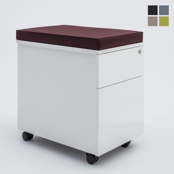 mdd Rollcontainer grifflos mit Hängeregistratur und Sitzkissen