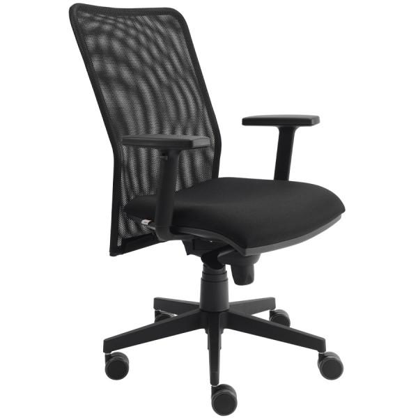 Bürodrehstuhl BEST Netzrücken schwarz mit Armlehnen