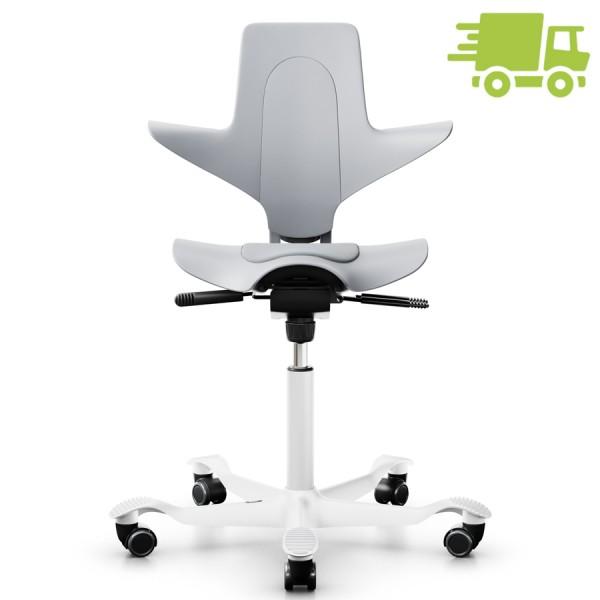 Capisco Puls 8010 grau mit grauer Sitzfläche - Gestell weiß - Frontansicht