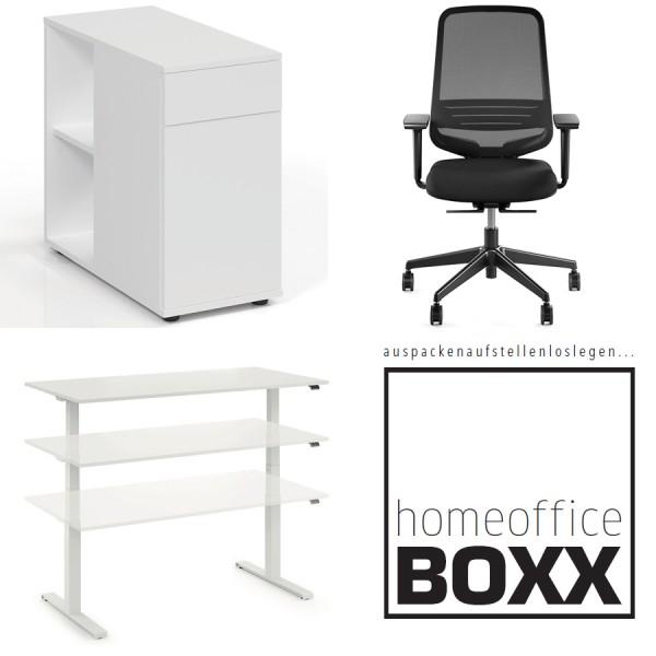 FM Homeoffice BOXX 3.0 - EASY GO Schreibtisch, ATTACK Bürodrehstuhl und STAND BY Standcontainer