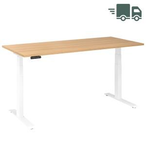RWH RAPID Schreibtisch elektrisch verstellbar - Tischplatte Eiche - Gestell weiß - 180x60