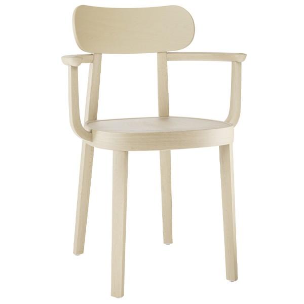 THONET 118 MF Holzstuhl mit Muldensitz u. Armlehnen Buche gebeizt aufgehellt