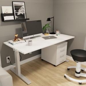 RWH Action Schreibtisch elektrisch verstellbar - weiß-silber - mit Rollcontainer ROCK