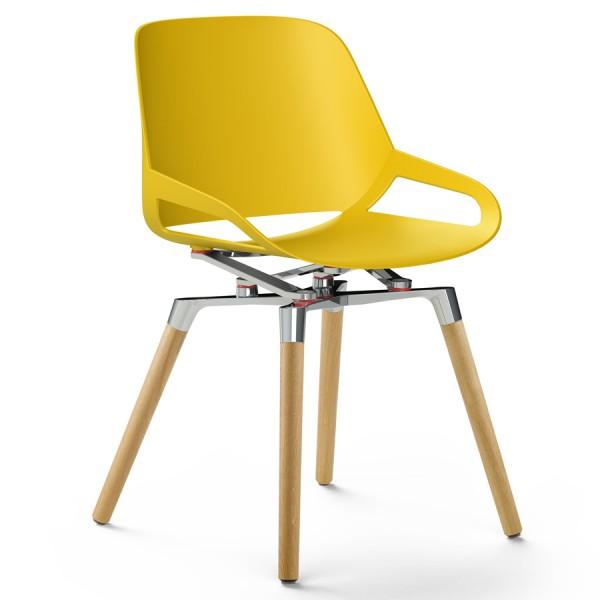 Aeris Numo Holzgestell - Sitzschale gelb - Kinematik poliert - ohne Sitzkissen