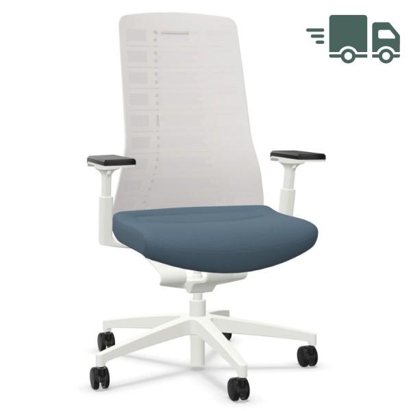 Interstuhl PUREis3 PU213 Bürostuhl weiß mit Netzrücken Farbe blaugrau 3D-Armlehnen - schnell geliefert