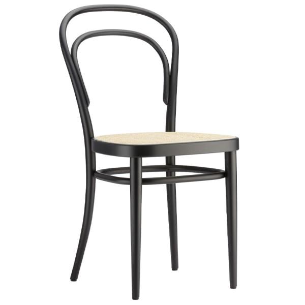 THONET 214 Bugholzstuhl Kaffeehausstuhl schwarz mit Rohrgeflecht-Sitz