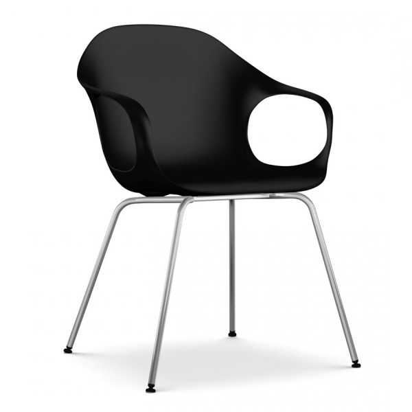 Kristalia ELEPHANT Stuhl schwarz mit Vierfußgestell verchromt