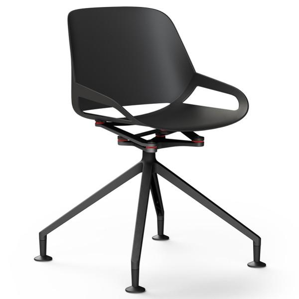 Aeris Numo Fußkreuz schwarz mit Gleiter - Sitzschale u. Kinematik schwarz