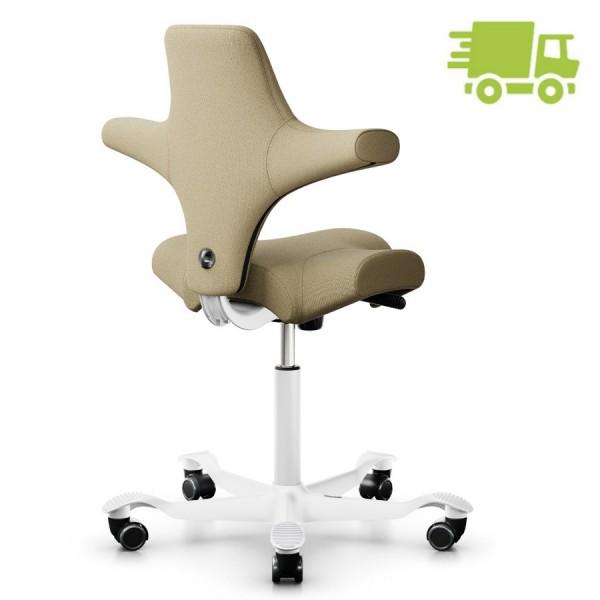 HAG Capisco 8106 Bürostuhl Stoff Capture Farbe beige mit Gestell weiß - schnell geliefert