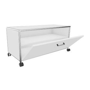 Bosse TV-Board 1 OH Breite 100 cm in Melamin Weiß mit Klappe offen