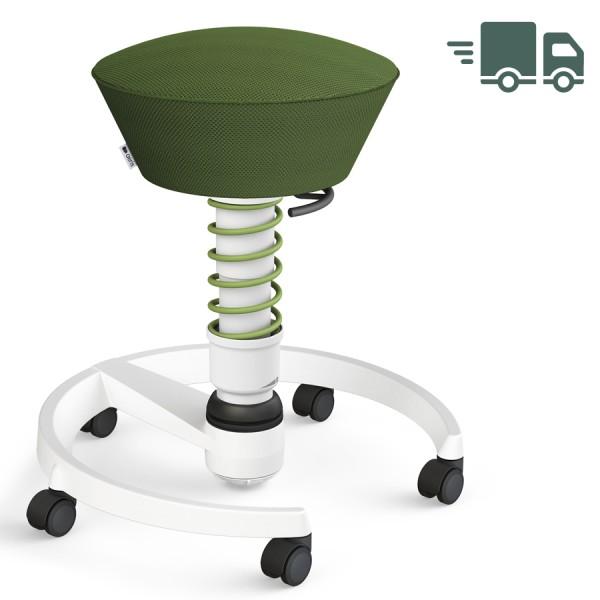 Aeris Swopper Air Mesh-Gewebe Runner grün mit Rollen - Gestell weiß - Standardfeder grün