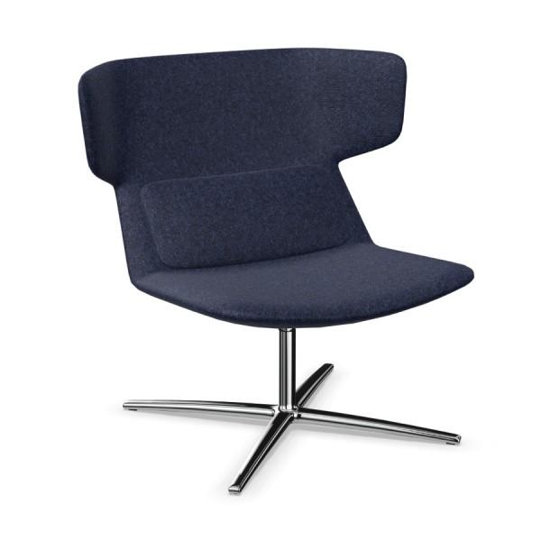 LD Seating Ohrendrehsessel FLEXI Gestell chrom Synergy dunkelblau