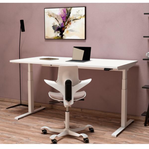 Flux E höhenverstellbarer Schreibtisch Neudoerfler mit Stuhl Capisco Puls 8020