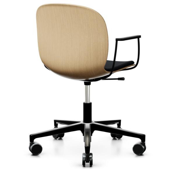 RBM Noor (6075S) Bürostuhl Konferenzstuhl Eichensitzschale mit Sitzpolster auf Rollen