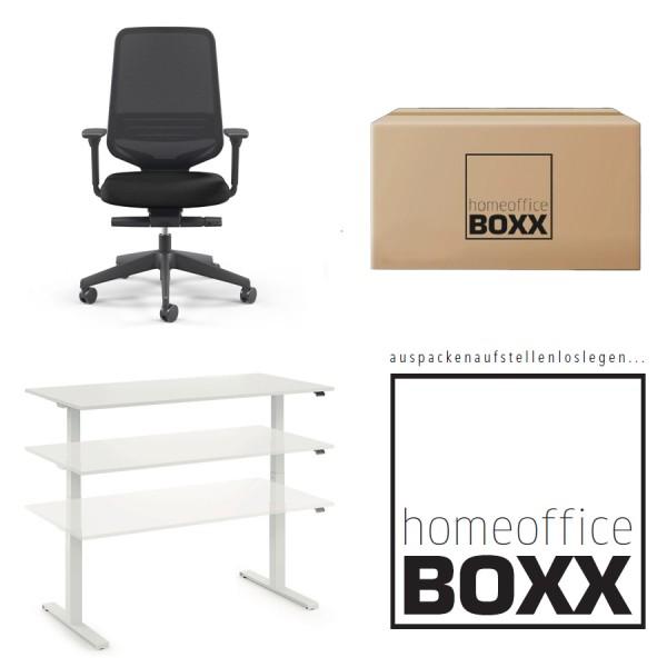 FM Homeoffice BOXX 2.0 - EASY GO Schreibtisch + Bürodrehstuhl ATTACK