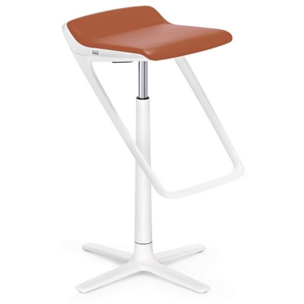 Interstuhl KINETICis5 710K Barhocker mit Fußraste Gestell weiß Sitz ockerbraun