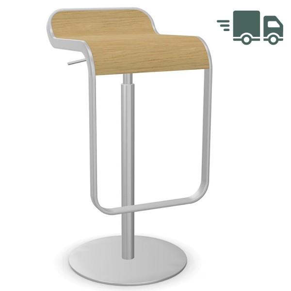 lapalma LEM Barhocker höhenverstellbar 66-79 Gestell verchromt - Sitzfläche Holz Eiche gebleicht