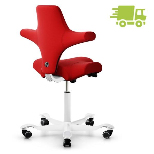 HAG CAPISCO 8106 Stoff Xtreme rot mit Sattelsitz 200 mm Gasfeder Gestell weiß - schnell geliefert