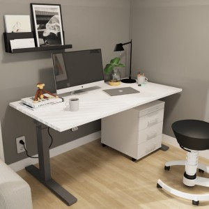 RWH Action Schreibtisch elektrisch verstellbar - weiß/graphit - mit Rollcontainer