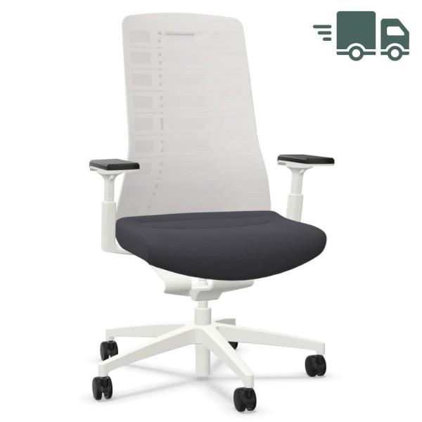 Interstuhl PUREis3 PU213 Bürostuhl weiß mit Netzrücken Farbe eisengrau 3D-Armlehnen - schnell geliefert
