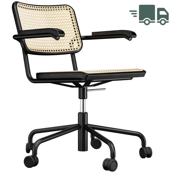 THONET Drehsessel S 64 VDR Rohrgeflecht-Sitz mit Armlehnen - Gestell schwarz