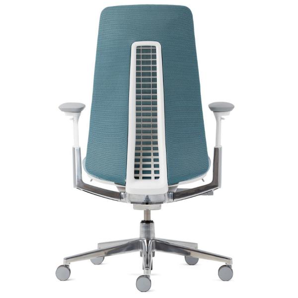 HAWORTH Fern Bürodrehstuhl blau mit Netzrücken Alu poliertes Fußkreuz - Rückansicht