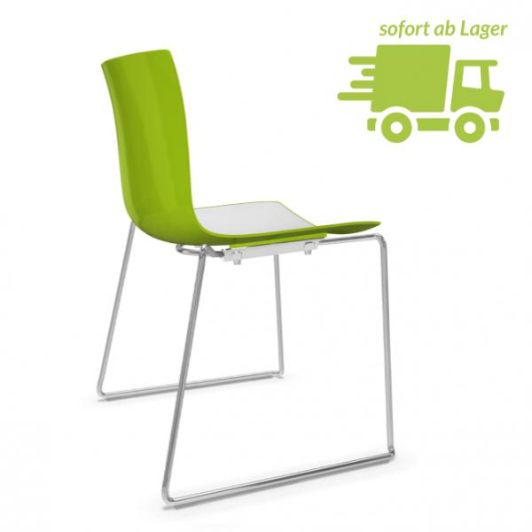 Arper CATIFA 46 0278 zweifarbig Kufenstuhl bicolor grün-weiß - schnell geliefert