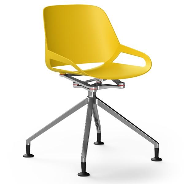 Aeris Numo Fußkreuz mit Gleiter - Sitzschale gelb - Kinematik u. Gestell poliert