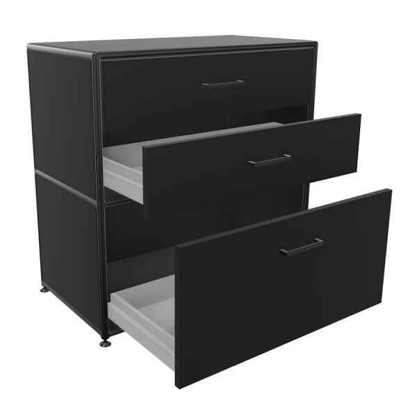 Bosse Regal Black Edition Höhe 2 OH  Breite 80 cm in Melamin Schwarz mit Schüben offen
