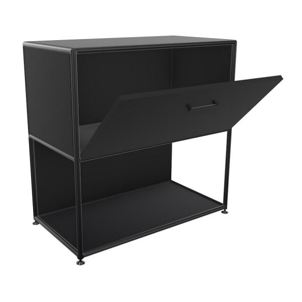 Bosse Regal Black Edition Höhe 2 OH  Breite 80 cm in Melamin Schwarz mit Klappe offen