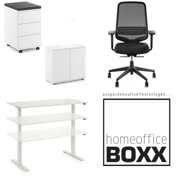 FM Homeoffice BOXX 4.0 - EASY GO Schreibtisch, Rollcontainer, Flügeltürenschrank u. Bürodrehstuhl