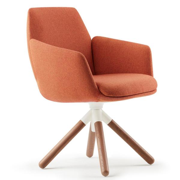 HAWORTH Poppy Konferenzstuhl Esszimmerstuhl orange mit Holzgestell