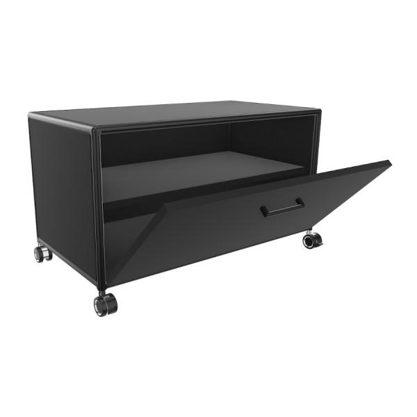 Bosse TV-Board Black Edition Höhe 1 OH  Breite 80 cm in Melamin Schwarz mit Klappe offen