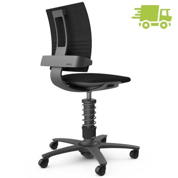 Aeris 3Dee Bürostuhl Mikrofaser schwarz High-Feder - Gestell schwarz
