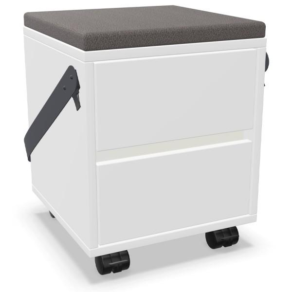 Palmberg Rollcontainer/Sitzhocker FIFFI weiß - Griffmulde weiß